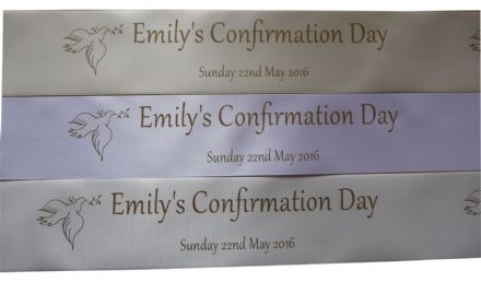 Personalised Confirmation Ribbon 45mm width choice of colour